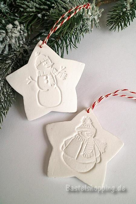 Weihnachtsbaumanhänger Basteln basteln gestempelte weihnachtsbaumanhänger aus modelliermasse